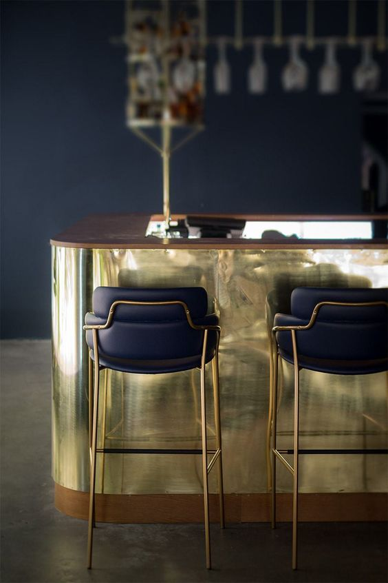 Brass and Wood Bar Design